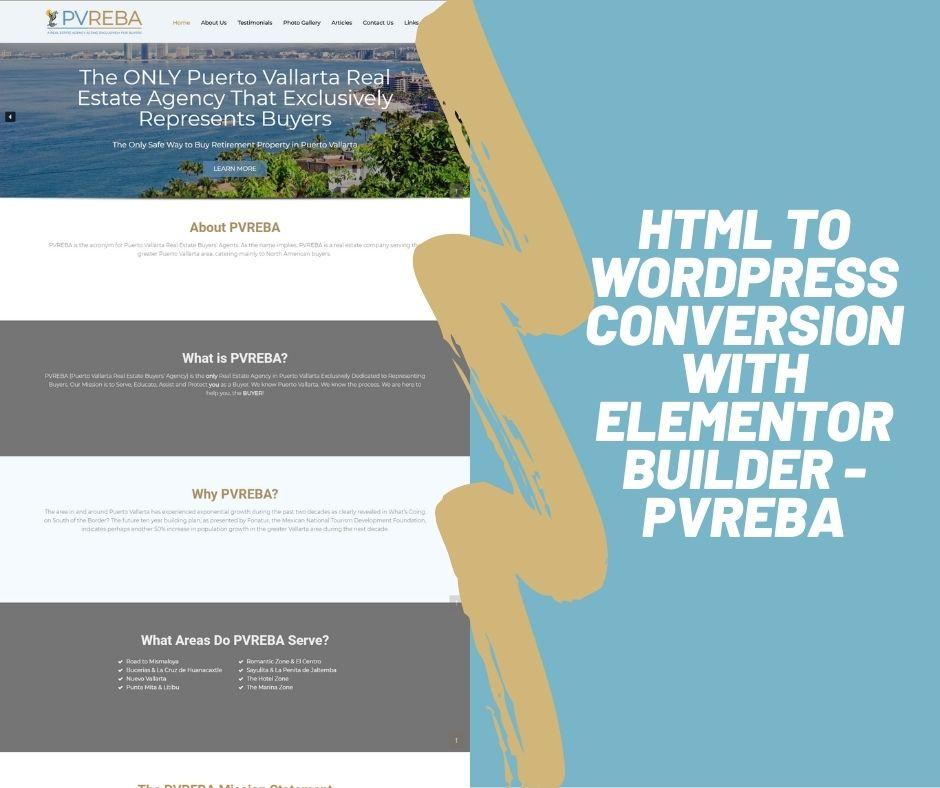 HTML to WordPress Conversion with Elementor Builder - PVREBA